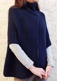 Free Knitting Pattern for City Cape - This poncho from Purl Soho features a woven slip stitch texture with overlapping front, turtleneck and arm holes. #modernknittingpatterns