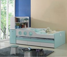"""Bunk Bed Model B65 Dimensions  Twins bed: Upper mattress 75""""x48"""" Lower mattress 72""""x44""""  Sizes can be customized as per requirment. Colour Options  1) White and Blue 2) White and Pink Price : Rs.44,600  Mattress is extra. Please email for prices. visit http://kidsfurnitureworld.in/bunk-beds.html"""