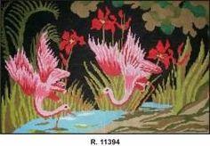 tela para bordar tapecaria flamingo