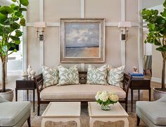 Living Room Pillow Fabric Ideas. Summer Living Room Pillow Fabric Ideas. Ficarra Design Associates via House of Turquoise