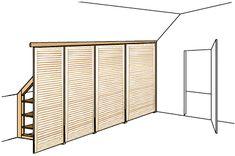 Instructions for a spacious attic cabinet - DIY Möbel - Kinderzimmer Bedroom Nook, Bedroom Storage, Diy Room Divider, Small Attics, Diy Cabinets, Sloped Ceiling, Cabinet Doors, House Design, Interior Design