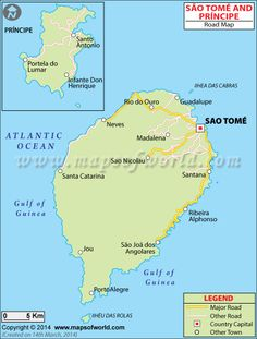Detailed Road Map of Sao Tome and Principe shows the national highways, expressways, main roads and streets network spreaded across the country. African Countries, Countries Of The World, Rotterdam, Lac Titicaca, Roads And Streets, Country Maps, Yangon, Photos Voyages, Geography