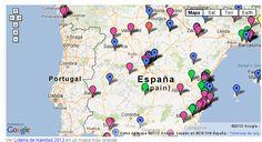 Mapa de las ciudades agraciadas en 2012