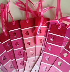 Paint Chip Valentine Bookmarks