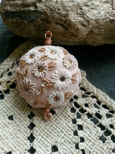 Polymer Clay Focal Bead - Moobie Grace Designs - Artisan - Embroidered Bead - Floral - Neutrals