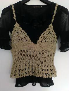 Debardeur coton ecru en dentelle au crochet fait-main Top au crochet : T-Shirt, debardeurs par crochet-et-bijoux-unique