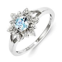 Sterling Silver Diamond & Light Blue Topaz Flower Ring