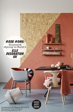 Painted Chipboard/OSB in March's Elle Decoration photographed by Magnus Anesund, styled by Tina Hellberg, with thanks to Editor-in-Chief Michelle Ogundehin Oriented Strand Board, Cafe Interior, Interior And Exterior, Interior Design, Chipboard Interior, Painted Osb, Osb Plywood, Style Deco, Home And Deco