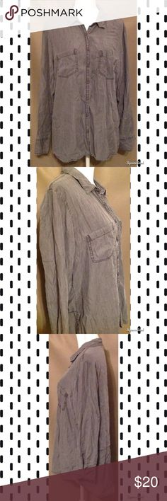 Gray Maurice's Chambray Button Down Tunic Shirt This cute top features soft chambray fabric, a button down front, long easy to roll sleeves and two functional chest pockets. Pair with some leggings! Size: XXL; 100% Lyocell. Maurices Tops Tunics