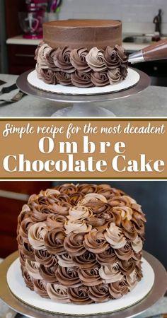 Chocolate Cake Recipe Videos, Chocolate Cake Designs, Decadent Chocolate Cake, Chocolate Frosting, Chocolate Cale, Cake Decorating Frosting, Cake Decorating Designs, Cake Decorating Videos, Easy Cake Designs