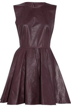 If you prefer a dress with more traditional lines, then try an unusual fabric—leather is fantastic and unexpected in a dress—anything that has a little something to set it apart for a very special night (the last of the year)   Alexander McQueen|Pleated leather dress