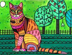 11x14 Bengal CAT FOLK ART poster print of Painting Modern Abstract