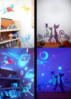 Now HERE's an idea--regular painted mural during the day and glow in the dark paint at night? Why keep this to in the kid's room? This would be great in the bathroom at night, or as a more tasteful version of sticker-stars on the ceiling. Or in my room...