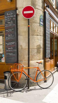 orange bicycle, paris