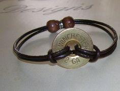 12 Gauge Bracelet by Cajleatherdesigns on Etsy - I could prolly make that. Shotgun Shell Crafts, Shotgun Shell Jewelry, Ammo Jewelry, Jewelry Crafts, Jewelry Bracelets, Jewelery, Handmade Jewelry, Shotgun Shells, Unique Jewelry