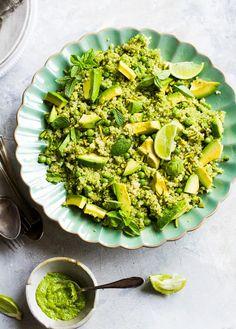 Green Goddess – Quinoa, Avocado, Peas and Pistachio Salad With Coriander Basil Pesto
