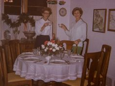 A Christmas eggnog toast - the sisters!  Wilma and Nelma