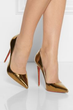 Christian Louboutin | Gold So Kate 120 Patentleather Pumps | Lyst