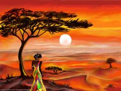 African Wall Art, African Art Paintings, Afrique Art, African Sunset, Art Africain, Tropical Art, Afro Art, African American Art, Community Art