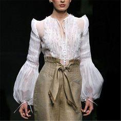 Women's Vintage See-through Pearl Bubble Sleeves Blouse Lantern Sleeve Ruffled Long Sleeve Blouse Mode Boho, Mode Chic, Mode Monochrome, Fashion Moda, Womens Fashion, Estilo Glamour, Cooler Look, Collar Designs, Casual Tops