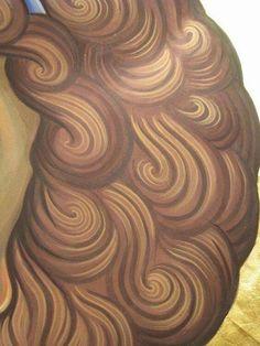 Icon painting, painting the hair Byzantine Icons, Byzantine Art, Religious Icons, Religious Art, Paint Icon, Face Icon, Religion Catolica, Catholic Art, Orthodox Icons