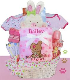 Personalized Baby Bunny Gift Basket Baby Girl - so sweet just like the new little baby girl!