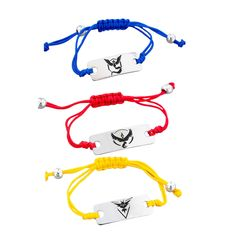 Pokemon GO Bracelet Team Valor Instinct Mystic Logo Bar Yellow Red Blue Nylon…