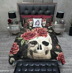 Rose Bedroom Decor No Longer A Mystery 132 - Dillardshome Skull Bedroom, Rose Bedroom, Gothic Bedroom, Bedroom Red, Queen Bedding Sets, Luxury Bedding Sets, Luxury Bedrooms, Comforter Sets, Bedroom Themes