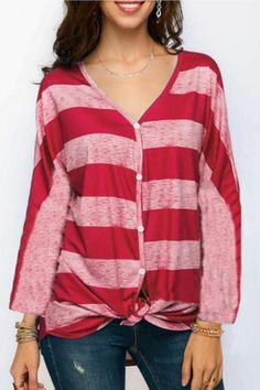 b2566478a4 Women Striped Blouse V Neck Long Sleeve Button Work Office Casual Loose  Tops Shirts Red
