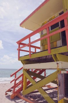 Beach Photography, Lifeguard Station, South Beach, Miami Florida, Fine Art Print Photograph, Bright Blue, Orange, Colorful by SilverBirdBoutique.etsy.com