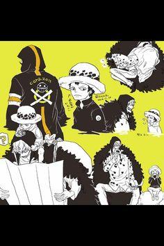 Trafalgar D. Water Law and Donquixote Rocinante (Corazon) (Corasan, Cora-san) One Piece art yellow