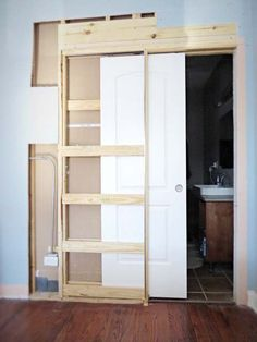 how to destroy your fears install a pocket door, diy, doors, home improvement #closetinserts
