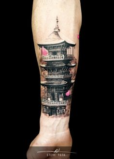 Chinese pagoda tattoo by Steve Toth