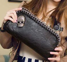 Luxury Womens Designer Skull Shoulder Hand Bag Purse Evening Bag Clutch (bestseller)