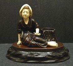 JAPANESE OKIMONO | Japanese Bronze and Ivory Okimono of a seated lady (item #1025738)