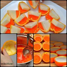 How to Make Candy Corn Jello Shots. Dress up your jello shots for Halloween by turning them into your favorite spooky sweet: candy corn! With layers of white, orange, and yellow gelatin, candy corn jello shots mimic the look of the. Candy Corn Jello Shots, Jello Pudding Shots, Jello Desserts, Alcoholic Desserts, Summer Drinks, Fun Drinks, Flan, Halloween Desserts, Halloween Candy