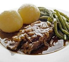 German Sauerbraten Recipe This over 3 day in a sour sauce marinated beef is a typical cold season dish, perfect on a chilly November day, serve with Spätzle (German home-made noodles) or Knödel (German home-made dumplings) and Rotkohl (red cabbage) and steamed brussel sprouts or green beans.