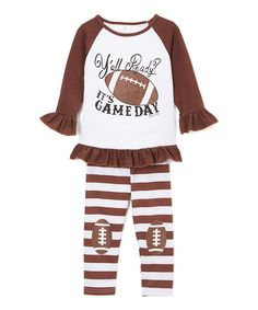 Loving this Brown & White 'Game Day' Top & Leggings - Infant, Toddler & Girls on #zulily! #zulilyfinds