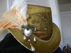 """CLICK HERE! - - Elizabethan Riding Hat. Women's Size 23-24"""". 100% Silk, Olive Green shot with Burgundy. Available for immediate shipping in my Etsy store. $129. Beading and pearls can be added for no extra charge on this listing. #Elizabethan Costume #Renaissance"""