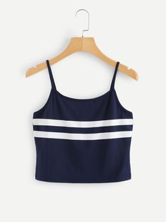 Stripe Panel Crop Cami TopFor Women-romwe