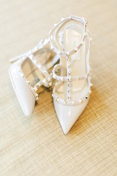 Chic studded Valentino pumps: Photography : CLYBYCHUNG Read More on SMP: http://www.stylemepretty.com/new-york-weddings/sands-point/2016/01/29/classic-blush-gold-wedding-at-the-hempstead-house/