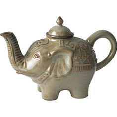 Elephant Teapot--Let's talk about the elephant in the room, shall we? Make your tea parties unforgettable with our adorbs Elephant Teapot. Crafted from dishwasher-safe, chip-resistant, microwaveable stoneware, it's perfect for daily use. Discuss.--Pier 1 $15.95