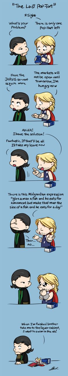 "Mini!Thor - The Last Pop-Tart by =caycowa on deviantART ""I want to swim in the ale."" lol"