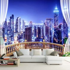 Custom Photo Wallpaper Window City Night View Large Murals Wall Painting Wall Papers Home Decor Living Room Bedroom Modern Bedroom Murals, Living Room Bedroom, Modern Bedroom, Wall Murals, Living Room Decor, Floor Murals, 3d Wallpaper City, Cheap Wallpaper, Photo Wallpaper