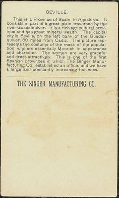 Singer Sewing Machine's World, 1892, Spain Sevilla Trade Card