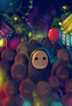 Ghibli - Le Voyage de Chihiro (Spirited Away) Miyazaki - Kaonashi Fan Art Studio Ghibli Art, Studio Ghibli Movies, Hayao Miyazaki, Manga Anime, Anime Art, Howls Moving Castle, Spirited Away, My Neighbor Totoro, Animation