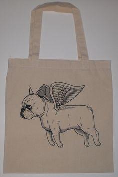 Flying French Bulldog Canvas Shopping Tote Bag. $10.00, via Etsy.