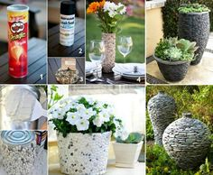 Cover Pots, Cans, Tins to create a rustic stone effect