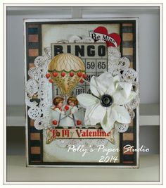 Vintage Bingo Valentine GReeting Card Handmade by PollysPaper, $6.50
