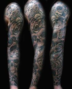 Joe Riley - Bio Organic Skull Sleeve Tattoo